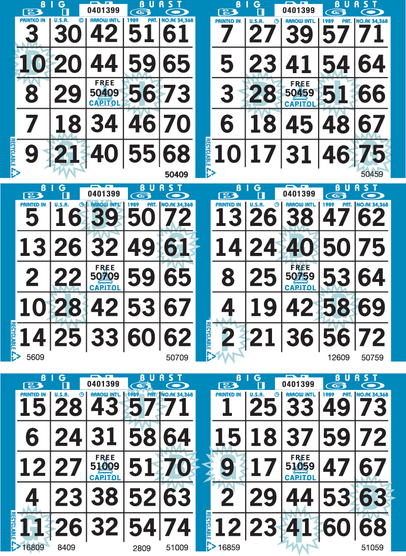 Big Burst Bingo Paper
