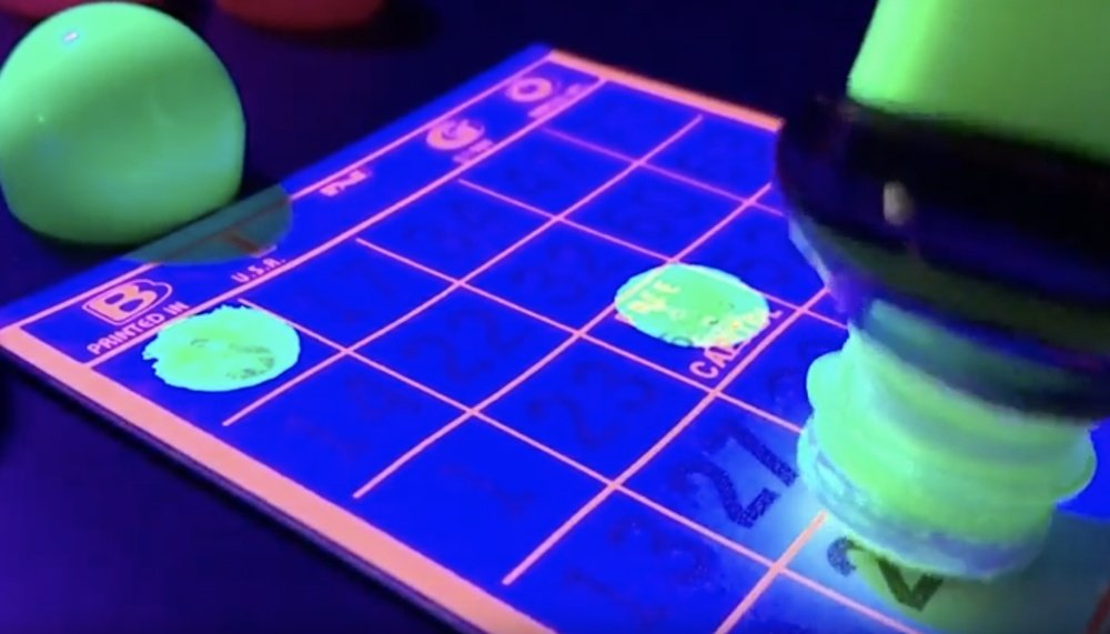 Glowing, Flourescent Bingo Paper