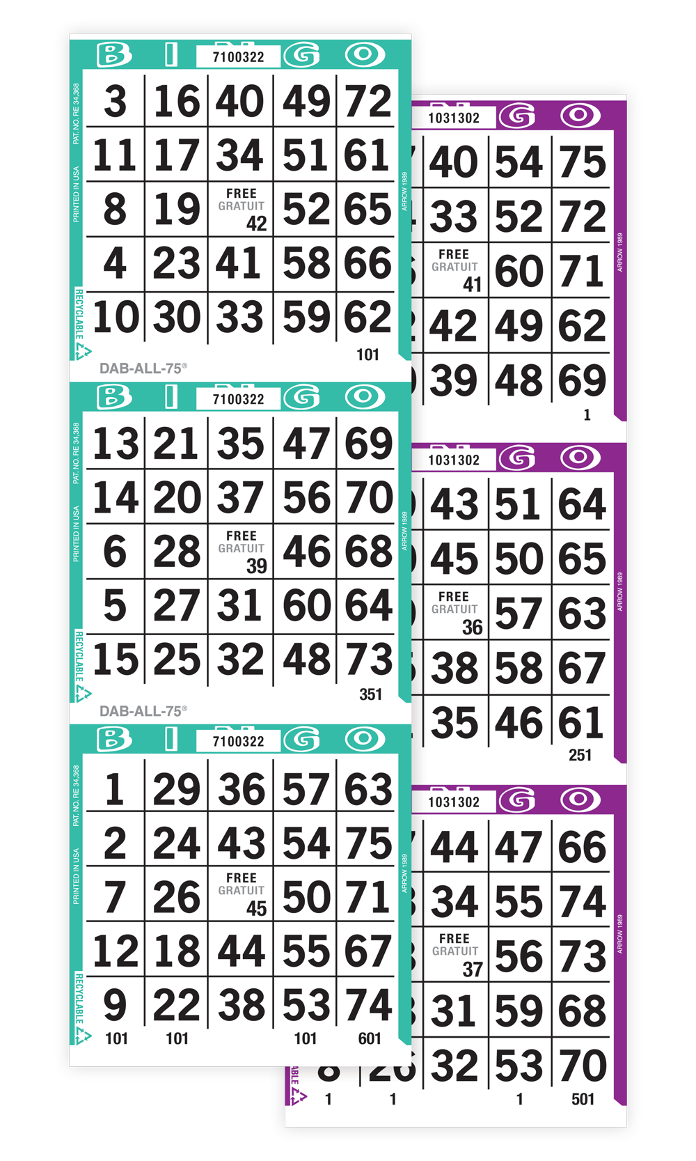 Dab-All-75 Bingo Paper