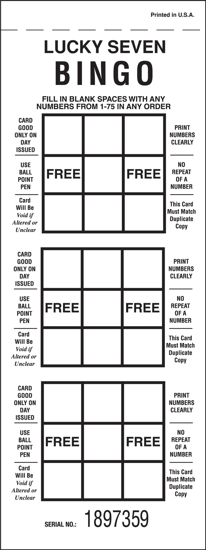 Luck 7 Bingo - 3 ON