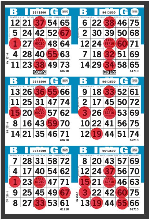 Player Preferred UniMax Bingo Paper